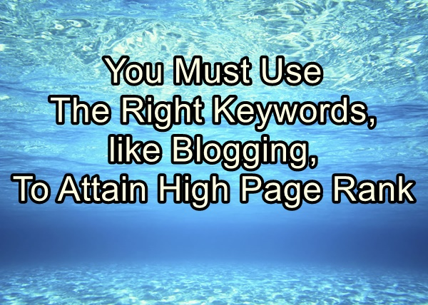 You Must Use The Right Keywords, like Blogging, To Attain High Page Rank
